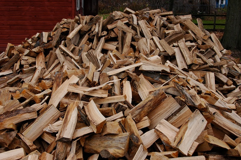 a stack of freshly split fire wood